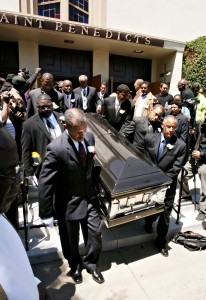 Pallbearers carry out the casket containing the body of Oakland Post editor Chauncey Bailey following funeral services for the slain journalist Aug. 8, 2007, in Oakland (D. Ross  Cameron/Oakland Tribune)