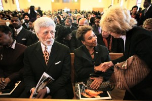 Mayor of Oakland Ronald V. Dellums and U.S. representative Barbara Lee at the funeral service for slain Oakland journalist Chauncey Bailey at Saint Benedicts Catholic Church in Oakland Aug. 8, 2007. (Antonio Franco/Oakland Tribune)