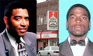 Chauncey Bailey, left, and his alleged assailant Devaughndre Broussard, right, flanking Your Black Muslim Bakery in Oakland (CChing/CIR)