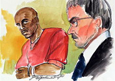 Slaying suspect Devaughndre Broussard, left, appears in court for a preliminary hearing on Nov. 21, 2007, with Deputy District Attorney John Jay. (Joan Lynch)