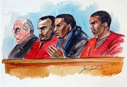 Preliminary hearings started on the kidnapping and torture case involving members of Your Black Muslim Bakery at Wiley Manuel Superior Court in Oakland, Calif., on Jan. 24, 2008. Depicted in this illustration, from left to right, are an unnamed defense attorney, suspect Richard Lewis, Ted Johnson and suspect Yusuf Bey IV. (Joan Lynch)