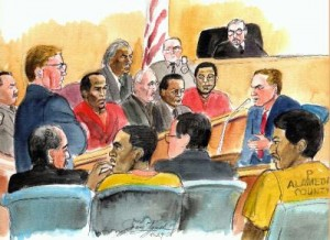 Preliminary hearing for in the kidnap and torture case at the Rene C. Davidson Court house in Oakland, CA May 29th 2008. In the jury box front row(l-r) sits the bailif, defendant,Richard Lewis,red suit,defense attorney, Patrick Hetrick, Ted Johnson and Yusuf Bey IV . Judge Eric Labowitz listens as prosecutor Scott Patton questions the witness, investigating officer Jesse Grant. In the foreground is defense attorney Michael Burger,Tamon Halfin yellow suit, defense attorney David Kelvin and Yusuf Bey V. Prosecutor Scott Patton is questioning witness. (SKETCH BY JOAN LYNCH )