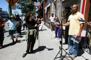 John Bey speaks at a rally at the site of the former Your Black Muslim Bakery on Telegraph Avenue on Saturday, Aug. 2, 2008, in Oakland, Calif. Members of the Bey family spoke on the one-year anniversary of journalist Chauncey Bailey's death. (Jane Tyska/The Oakland Tribune)