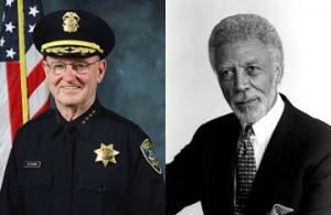 Oakland Police Chief Wayne Tucker and Oakland Mayor Ron Dellums.