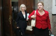 Yusuf Bey IV's attorneys Lorna Brown, left, and Anne Beles leave courtroom Wednesday (Dean Coppola/MediaNews)
