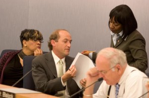 BART Board members Carole Ward Allen, from left, Bob Franklin and Lynette Sweet, standing, confer during a board meeting, Thursday, Oct. 22, 2009 in Oakland. The trio objected to a plan to award a lighting contract to an Irvine firm instead of a local, minority-owned contractor, Solar Eclipse. (D. Ross Cameron/Oakland Tribune)