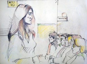 Alameda County District Attorney Melissa Krum, left, delivers her opening argument to the jury in the murder trial of Antoine Mackey and Yusuf Bey IV, Monday, March 21, in Alameda County Superior Court in Oakland. Bey and Mackey are accused in the 2007 shooting death of journalist Chauncey Bailey. (Errol Zachery sketch)
